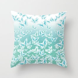 blue butterflies in the sky Throw Pillow