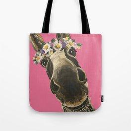 Pink Donkey Art, Flower Crown Donkey Art Tote Bag