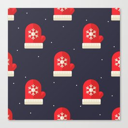 Red Christmas Gloves Pattern Canvas Print