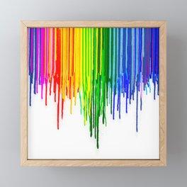 Rainbow Paint Drops on White Framed Mini Art Print