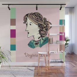 Virginia Woolf - hand-drawn portrait Wall Mural