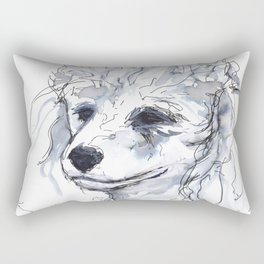 Poodle (portrait for my mom), watercolor Rectangular Pillow