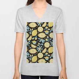 Lemon Pattern Black Unisex V-Neck