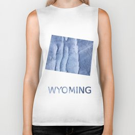 Wyoming map outline Blue watercolor Biker Tank