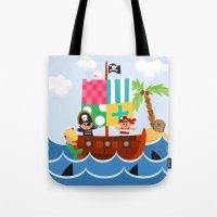 pirate ship Tote Bags featuring PIRATE SHIP (AQUATIC VEHICLES) by Alapapaju