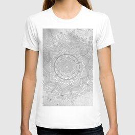 gray splash mandala swirl boho T-shirt