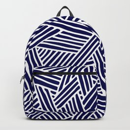 Abstract navy blue & white Lines and Triangles Pattern- Mix and Match with Simplicity of Life Backpack