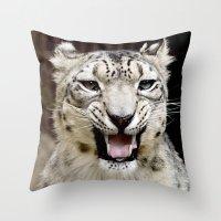 snow leopard Throw Pillows featuring Snow Leopard by MehrFarbeimLeben