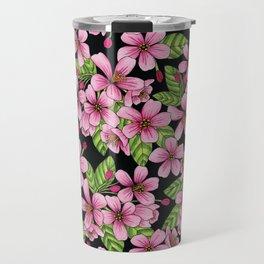 Pink Crabapple Blossoms - Floral Pattern Travel Mug