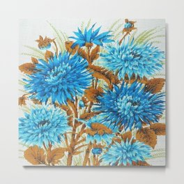 Australian Vintage Tea Towel Cornflower Blue Metal Print
