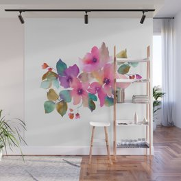 Lovely pink flowers. Watercolor florals Wall Mural