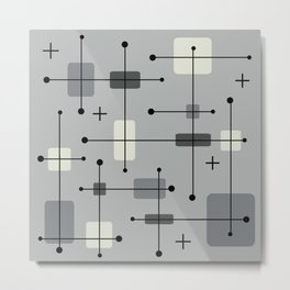 Rounded Rectangles Squares Gray Metal Print