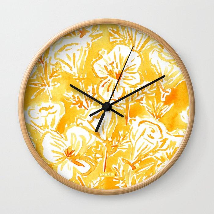 CALI POP Yellow California Poppies Wall Clock