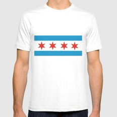 chicago flag White MEDIUM Mens Fitted Tee