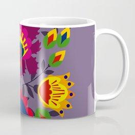 Folk flowers on purple Coffee Mug