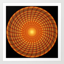 Amber Vortex Mandala Art Print