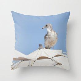 Seagull on Umbrella Throw Pillow