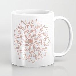 Mandala Blooming Rose Gold on White Coffee Mug
