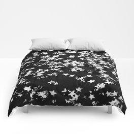 Black Night Glitter Stars #1 #shiny #decor #art #society6 Comforters