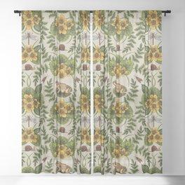 Wetlands Creatures - Toads, Snails, Dragonflies & Marsh Marigolds Sheer Curtain