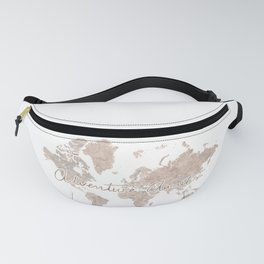 Adventure Awaits, brown watercolor world map with US state capitals Fanny Pack