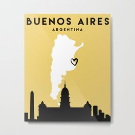 BUENOS AIRES ARGENTINA LOVE CITY SILHOUETTE SKYLINE ART Metal Print