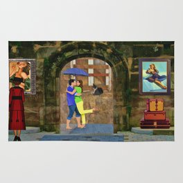 Whimsical Painting Rainy Day Lovers By Liane Wright   Rug
