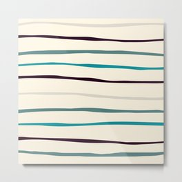 Irregular hand drawn horizontal stripes blue & beige Metal Print