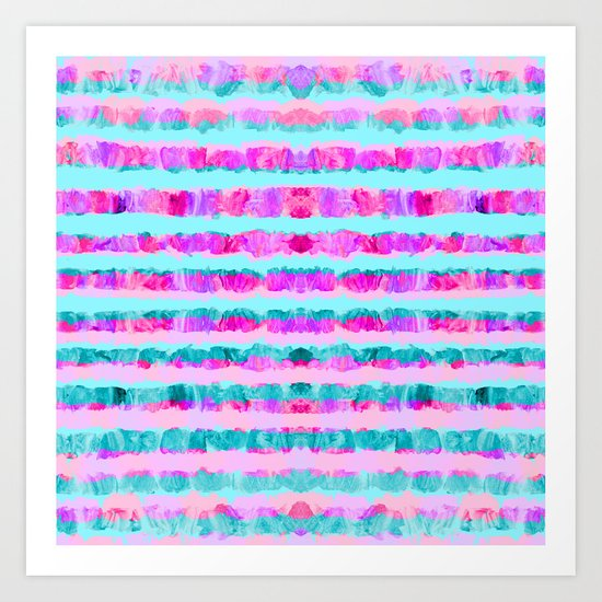 Painted Purple Party Stripes - with pink, teal, mint & aqua Art Print