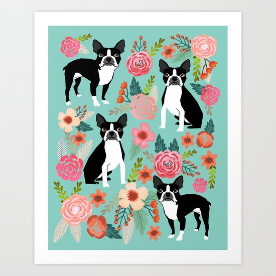 Floral Boston Terrier cute flowers spring bouquet love valentines day black and white mint dogs Art Print