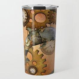 Steampunk, awesom steampunk dolphin Travel Mug