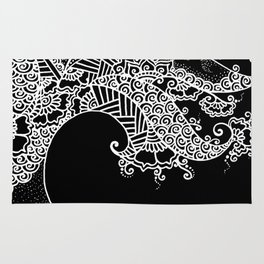 Zen Tree Rebirth Black Right Half Rug