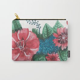 Ruby Botanical Floral Watercolor Carry-All Pouch