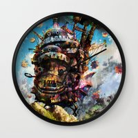 calcifer Wall Clocks featuring howl's moving castle by ururuty