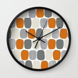 Wonky Ovals in Orange Wall Clock