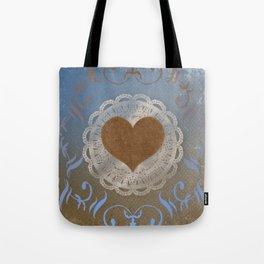Brown Heart Tote Bag