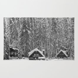 Cabin on the Water (Black and White) Rug