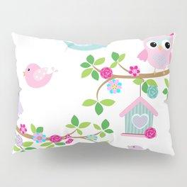 Búhos, Pájaros y  ramas de arboles Pillow Sham
