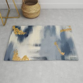 Blue and Gold Ikat Abstract Pattern #2 Rug