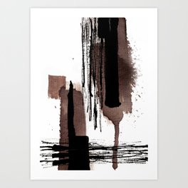 Ink brown black abstract Art Print