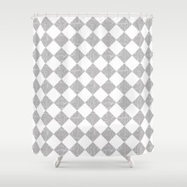 Rustic Farmhouse Checkerboard in Gray and White Shower Curtain