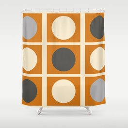 Minimal Abstract Vintage Cream Orange Grey 03 Shower Curtain