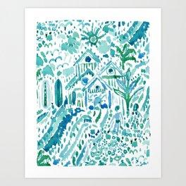 IDEAL BEACH HOUSE Aqua Watercolor Print Art Print