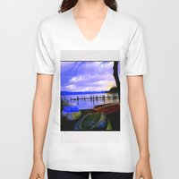 boats V-neck T-shirts featuring Boats by Esther Soendergaard