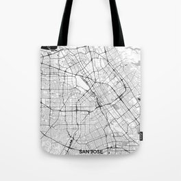 San Jose Map Gray Tote Bag
