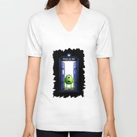 monster inc V-neck T-shirts featuring Tardis Monster inc by DavinciArt