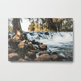 Golden tone waterfall nature prints Fall photography printable wall art Stones instant download Metal Print
