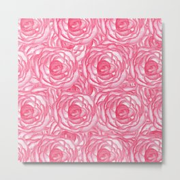 Girly Pink Hand Painted Watercolor Roses Metal Print