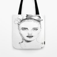 cara delevingne Tote Bags featuring Cara Delevingne by Rillwatermist