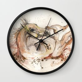 rolling in the dust for joy Wall Clock